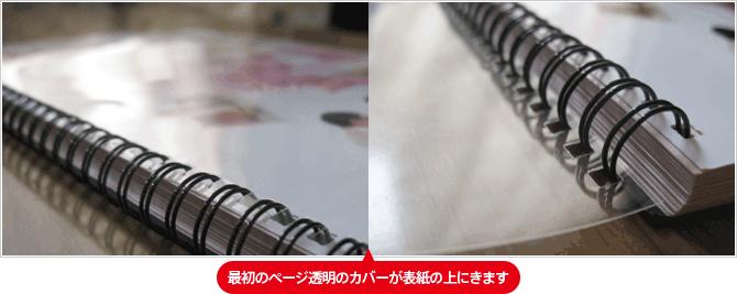 最初のページ透明のカバーが表紙の上にきます